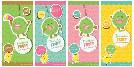 Cute Durian Vector  Durian Tag labels Illustration