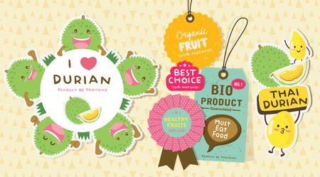 Cute Durian Vector / Durian Tag labels