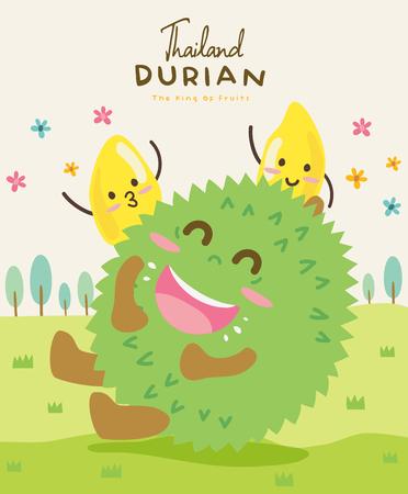 Cute Durian Vector illustration Иллюстрация