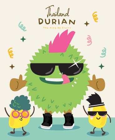 Cute Durian Vector illustration Ilustração