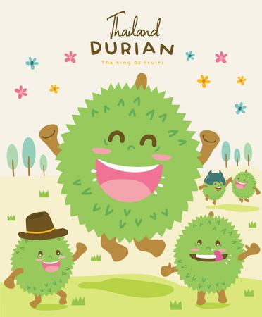 Cute Durian Vector illustration Illustration