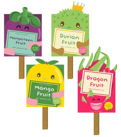 Cute Durian, Mango, Dragon, Mangosteen Fruit Vector Illustration