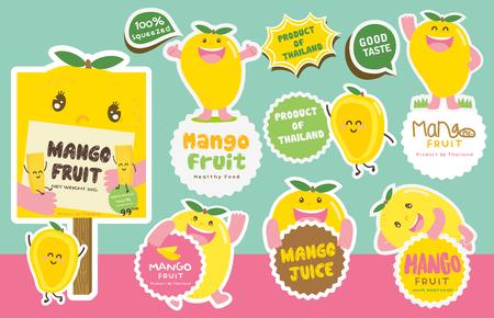 Cute Mango Vector  Mascot Vector
