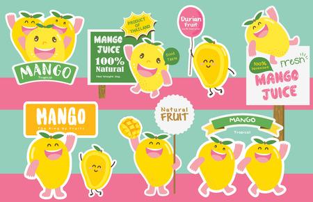 Cute Mango Vector / Mascot Vector