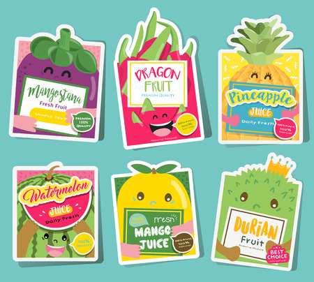Fruit label collection Vector