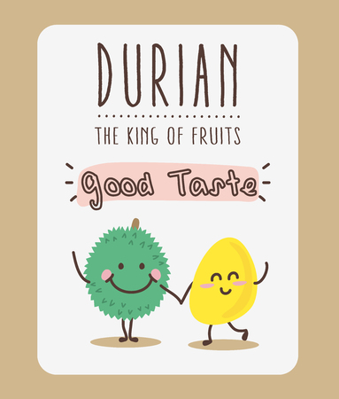 Cute Durian Cartoon / Mascot Vector Vectores