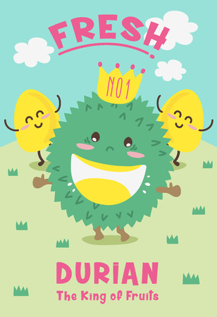 Cute Durian Cartoon/ Mascot Vector Design