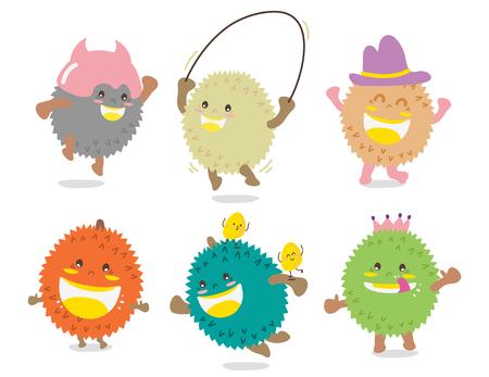 conjunto de lindo vector de vector de diseño de mascota de canguro