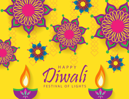 Happy Diwali Festival of Lights Stock Vector - 109134292