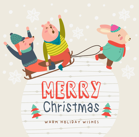 Happy Merry Christmas. Happy sledding down snowy hill