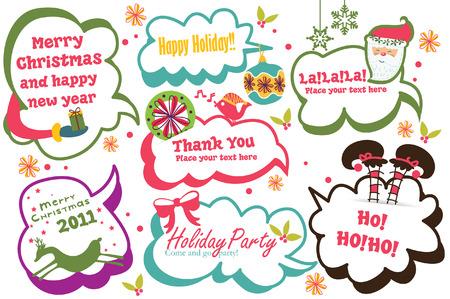 Cute Christmas speech bubbles set
