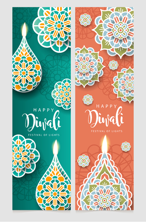Happy Diwali Hindu festival, Burning diya illustration, Rangoli background for light festival of India.