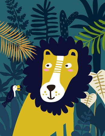 Lion in jungle. Vector illustration.