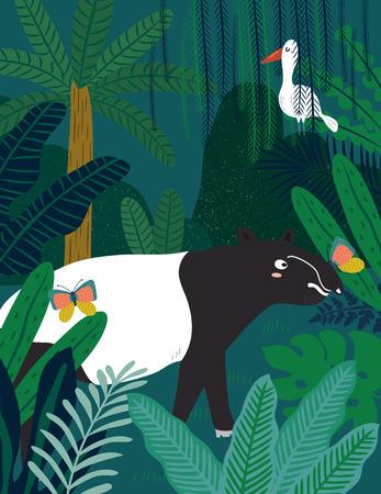 Malayan Tapirl in jungle. Vector illustration. Ilustração