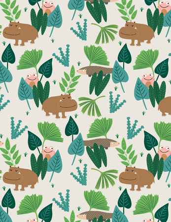 Seamless pattern with hippo, pangolin, frog and tropical leaves. Leave floral texture