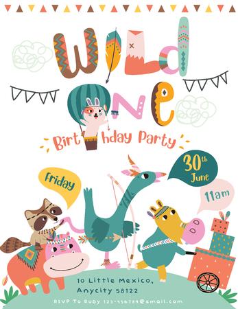 Tarjeta de invitación de fiesta de cumpleaños feliz con animales tribales de dibujos animados. Ilustración de vector