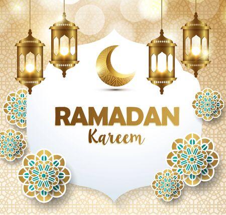 Ramadan kareem avec modèle de lanterne dorée fond de voeux orné islamique