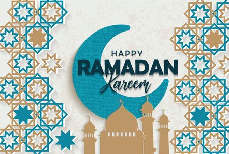 Ramadan kareem greeting card with half a month and mosque background