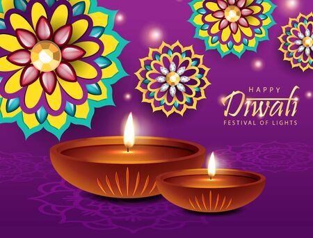 Happy Diwali Festival Design. Beautiful Indian Flower with Diya Oil Lamp Design. The Festival of Lights.