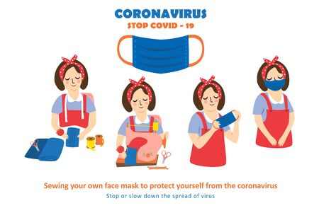 Coronavirus 2019 - Sewing your own face mask to protect yourself from the coronavirus. Stop Or Slow Down The Spread Of Virus.