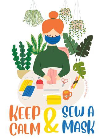 Coronavirus 2019 - Keep Calm And Sew A Masks Ilustracja