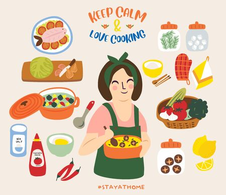 Keep Calm and Love Cooking Ilustracja