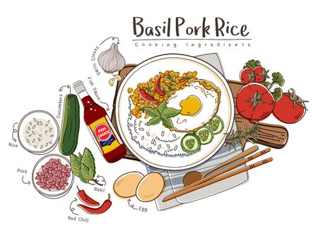 Basil Pork Rice with Ingredients Set. Thailand Cuisine Recipe Illustration.