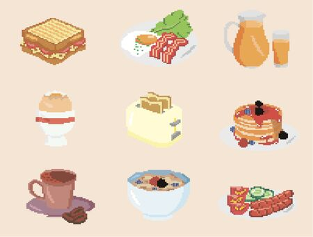 Set of pixel food for breakfast. Pixel icons of food for designers 向量圖像