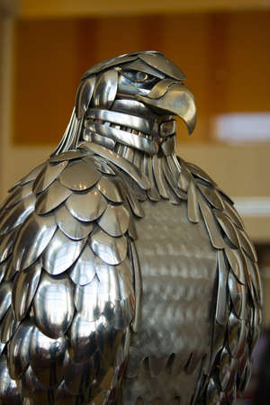 close up of a sculptured metal eagle