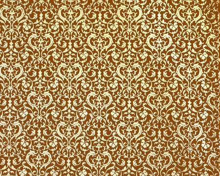 islamic pattern: Old, damascus pattern on brown background Stock Photo