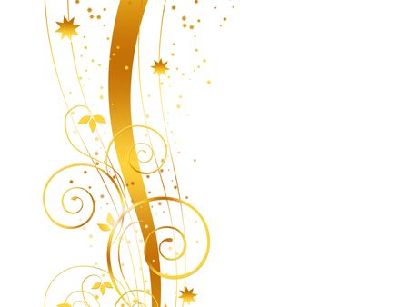 Golden Christmas background on white Stock Photo