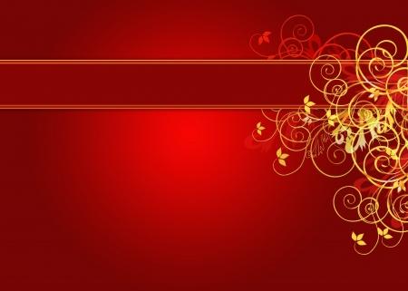 message vector: De oro y con fondo rojo y copia espacio Florals