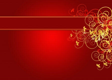 Golden and red background with copy space and florals photo