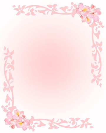 Pink stationery with flowers and floral elements photo