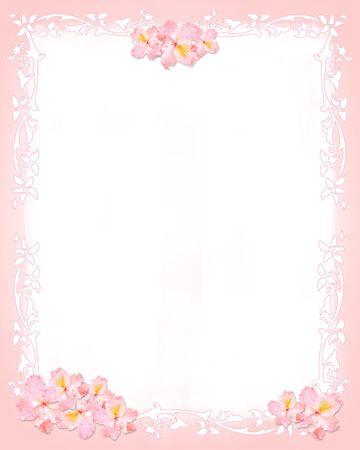 papeleria: Rosa y blanco con flores de papel y elementos florales Foto de archivo