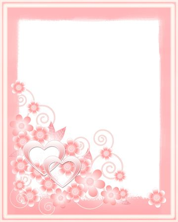 Wedding card with two hearts and flowers photo