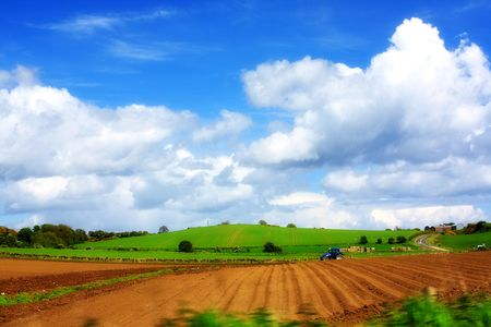 ploughing field: Spring farming works in the fields, Scotland Stock Photo