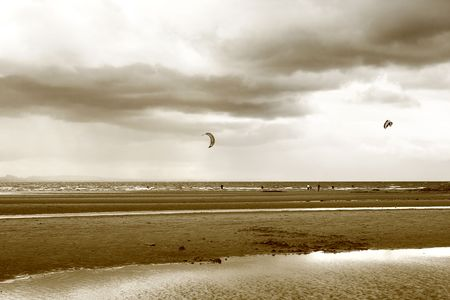 Kite surfing in Scotland in summertime Stock Photo - 5865202