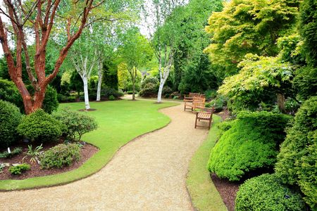 landscape garden: Lovely, public spring garden, Scotland Stock Photo