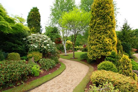 Lovely, public spring garden, Scotland Stock Photo