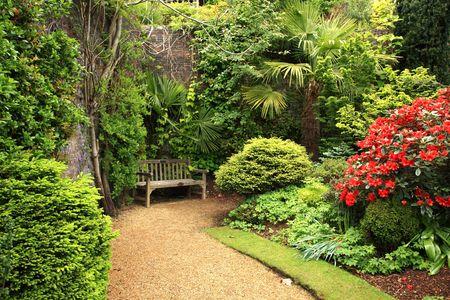garden landscape: Lovely, public spring garden, Scotland Stock Photo