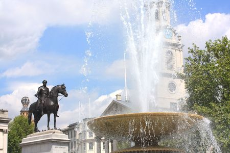 Trafalgar Square with fountain scene,  London photo