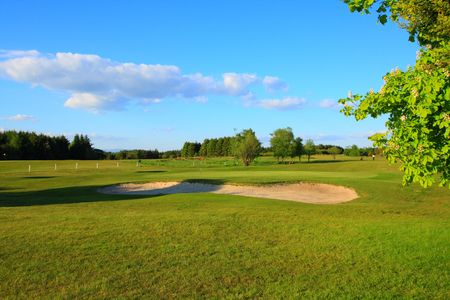 Golf course in the sunshine in Scotland Stock Photo