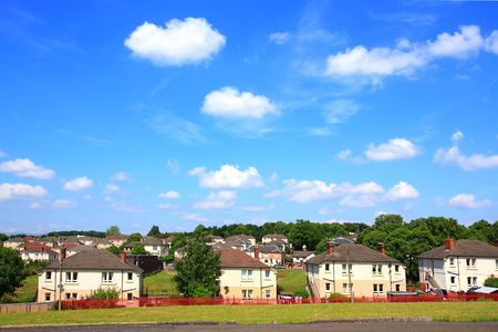 council: Council Houses in Scotland on sunny day