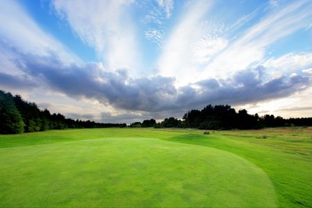 Golf course with amazing clouds in Scotland