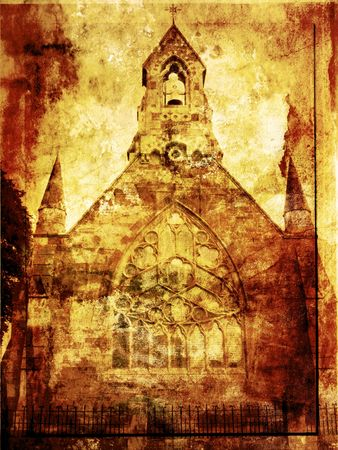 Grunge background with old church Stock Photo - 7412823