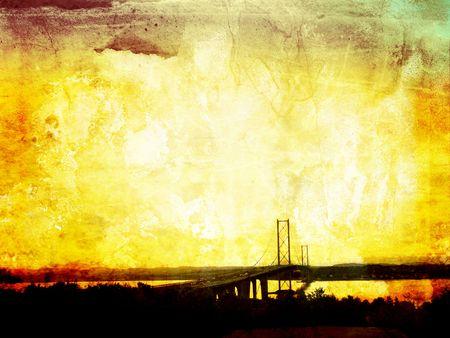 Beautiful grunge background with Forth Road Bridge, Edinburg Stock Photo - 7433157
