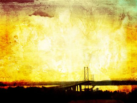 Beautiful grunge background with Forth Road Bridge, Edinburg