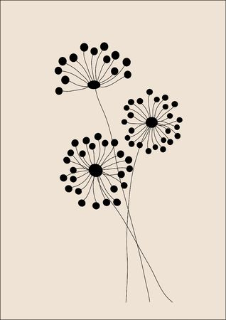 Wild flowers hand drawn illustration