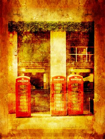 Grungy background with phone boxes in London Stock Photo - 7433146